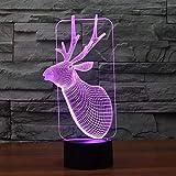 Reno LED 3D luz nocturna multicolor regalo atmosférico decoración navideña luces exquisito emblema decoración luces regalos navideños