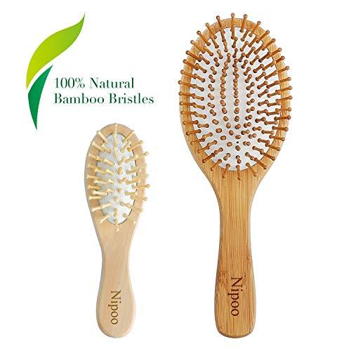 Nipoo Brosse à cheveux en bois naturel + Mini brosse de voyage économique...