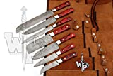 WP-1081 Custom Handmade Damascus Kitchen/Chef Knife Set 7/Piece Pocket Case Chef Knife Roll Bag By World Points (Red Wood)