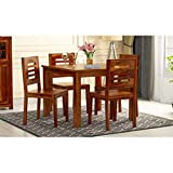 Credenza Solid Sheesham Wood Wooden Dining Table with 4 Chairs | 4 Seater Dining Set | Wooden Dining Table with Chair - Dining Room Furniture | Honey Finish