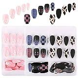 UFLF 48pcs Uñas Postizas Bailarina Cortas+24pcs Tips Uñas Puntas Presión Acrílica de 12 Tamaños Fake Art Nails con Adhesivo para Manicura y...