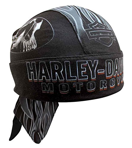 Harley-Davidson Men's Engulfed Flaming Skull Head Wrap, Moisture Wicking HW15290 Black