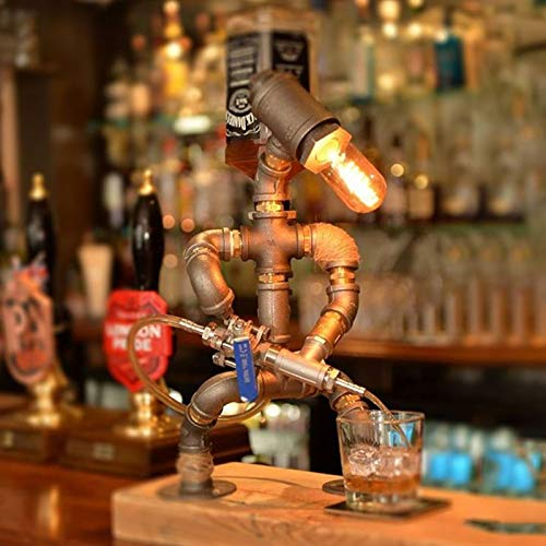 JiangM Steampunk Industrial Lamp Iron Pipe Industrial Retro Style Coffee Bar Desk Robot Table Lamp Wine Dispenser Bar Supplies Home Decor (Kitchen & Home)