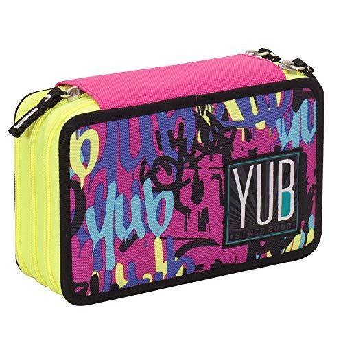 Astuccio 3 Zip YUB Graffiti, Viola, Attrezzato per la scuola: matite, penne