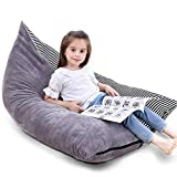 Stuffed Animal Storage Bean Bag Chair | 53' Extra Large Beanbag Cover for Kids and Adults, Plush Toys Holder and Organizer for Boys and Girls | Premium Velvet - Soft & Comfortable (Stripe- 1)