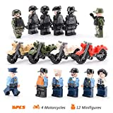 16 PCS Building Block Toy Set, Motorcycle / Vehicle with Army Mini Figures Play Set, Assemble & Removable Motorcycle Military Toys Figures Car Party Favors Fits Boys and Girls