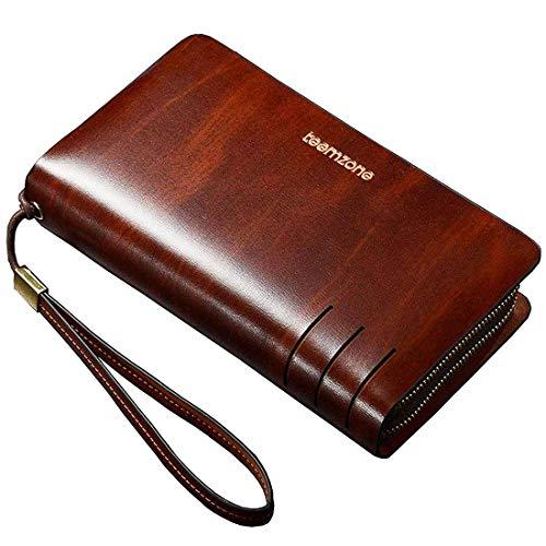 Portemonnaie Männer RFID Schutz Herrentasche Leder 22×13,5×4cm Geldbörse Herren Unterarmtasche Handgelenktasche Groß Multi-Tasche mit Trageschlaufe TEEMZONE, Münzfach mit Rfid Schutz, M