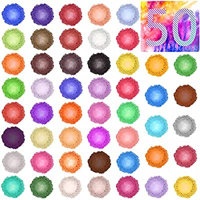 50 COLORS MICA POWDER FOR SELECTION - Selizo powder pigment set comes with 50 bags (3g each bag) of mica powder which contains 50 beautiful assorted colors for choices, well to meet all your demands of different brilliant colors PREMIUM & SAFE PIGMEN...