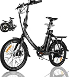 KGK Adult Folding Electric Bike 20'' Electric Mountain Bike for Women Men, 20MPH Foldable Electric Bike for Adults 350W Ebike Electric City Bike Commuter Bicycle with Removable Battery Suspension Fork
