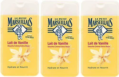 Lote de 3 geles de ducha Le Petit Marseillais extra suaves, con leche de vainilla, 250 ml