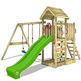 WICKEY Aire de jeux Portique bois MultiFlyer toit en bois avec balançoire et toboggan vert pomme, Maison enfant exterieur avec toit en bois, bac à sable, échelle d'escalade & accessoires de jeux