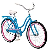 Schwinn Baywood Cruiser Bike, Featuring Steel Step-Through Frame and Single-Speed Drivetrain with Full Wrap Fenders, 24-Inch Wheels, Bright Blue