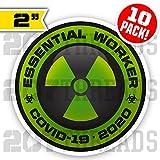 10 PACK Essential Worker Hard Hat Sticker Nuclear GREEN Toxic Hazard Covid-19 Decals - Coronavirus Sticker Pack 2020 Set