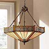 Stratford Bronze Tiffany Pendant Chandelier 20 3/4' Wide Mission Stained Glass 3-Light Fixture for Dining Room House Foyer Kitchen Island Entryway Bedroom Living Room - Robert Louis Tiffany