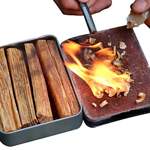 TOYPOPOR Fatwood 100% Naturale Firestarter Bastoni con Scatola Outdoor Kit di Emergenza Materiale Accensione BBQ Trekking Sopravvivenza Strumento