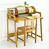 UNICOO - Bamboo Height Adjustable Kids Desk and Chair Set, Children Desk, Kids Study Table and Chair Set (Kids Desk Set - Nature -01)