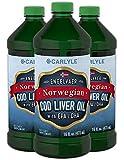 Carlyle Cod Liver Oil Norwegian 16 fl oz 3 Bottles – Non-GMO, Gluten Free Liquid
