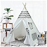 Kids Teepee Tent for Boys Girls Children Teepee Play Tent Indoor Outdoor with Carry Case Floor Mat Portable Indian Canvas Tipi Tent for Toddlers Baby Children Tee Pee Tents Grey Chevron Teepee Boys