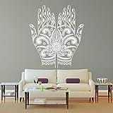 Yoga mano flor mandala decoración de la habitación de la pared arte vinilo adhesivo mural calcomanía palma patrón creativo decoración etiqueta de la pared A9 57x89 cm