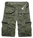 Panegy Homme Cargo Bermuda Short Multi Poches Éte Pantalon Court Bermuda de Travaille Casual Grande Taille Bermuda Homme Randonnee Uni Army Vert avec Ceinture Taille 34