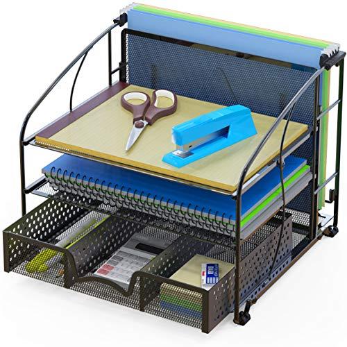 SimpleHouseware Desk Organizer 3 Tray w/ Sliding Drawer and Hanging...
