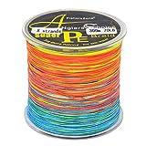 Fil de pêche tressé 8 brins de 300 m, multicolore, super résistant, en...