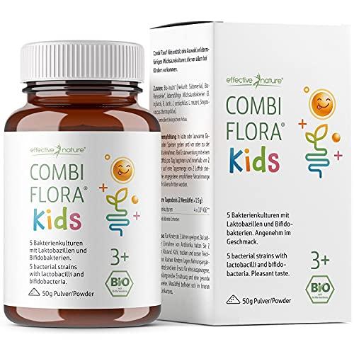 Combi Flora Kids Bio - Mit Bifidobacterium & Lactobacillus für Kinder - Pulver mit Dosierlöffel - 50g