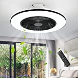 IYUNXI Ceiling Fan with Lights 22 In Smart Enclosed Ceiling Fan with Remote 72W Low Profile Flush Mount Ceiling Fans 3-Color Dimmable,Modern Kids Ceiling Fan with Light Kit 7 Blades 3-Speed Timing
