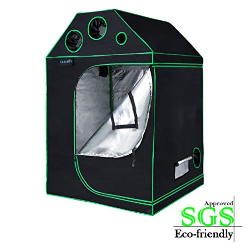 Quictent SGS Approved Eco-Friendly Reflective Mylar Hydroponic Grow Tent with Heavy Duty Anti-Burst Zipper and Waterproof Floor Tray for Indoor Plant Growing 4 Nylon Belts Provided (48'x48'x71')