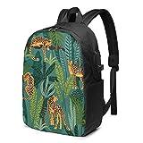 Mochila para portátil de Viaje, leopardos y Mochila para portátil de Viaje Tropical Mochila Escolar universitaria Mochila Informal con Puerto de Carga USB