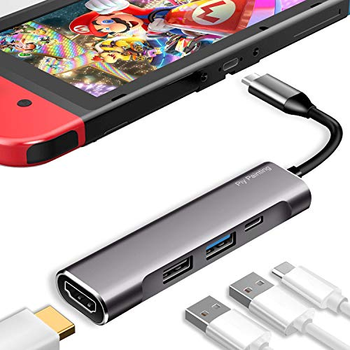 Piy Painting Nintendo Switch Dock, USB Type C to HDMI Multiport Hub, USB-C (USB3.1) Adapter PD Charger for Nintendo Switch, Portable 4K HDMI Dock for Samsung Dex Station S10/9/8/Note8/9/Tab S