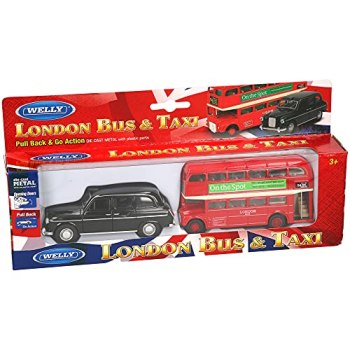 A to Z 9103 DC London Red Double Decker Bus and Black Taxi Vehicle Set, Multi