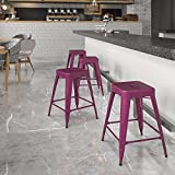 Flash Furniture Commercial Grade 24' High Backless Purple Indoor-Outdoor Counter Height Stool