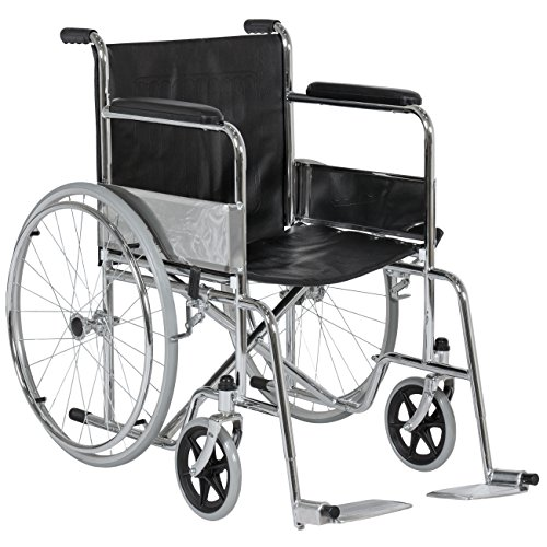 Best Choice Products 24in Folding Wheelchair w/Swing-Away Footrest and Carry Pockets, Black
