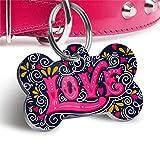 Pet Tag Art Médaille d'Identification Médaille Personnalisable en Forme d'os Cœur pour Animal Domestiqu -...