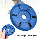 Six Teeth Power Wood Carving Disc Tool - Yoruii Woodworking Engraving 6-Tooth Milling Cutter for Angle Grinders Attachment Milling Cutter Tool Six arc tooth