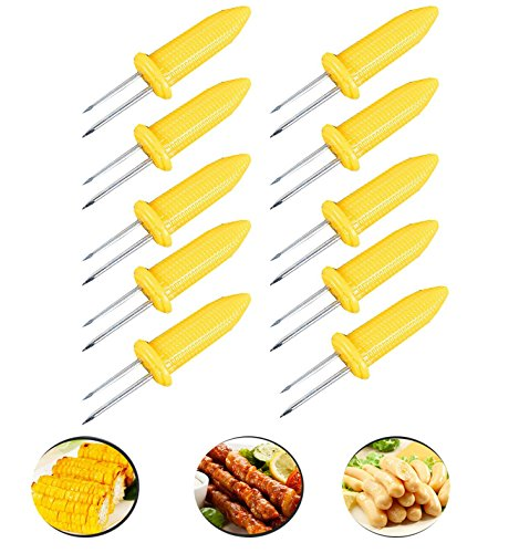 Fashionclub Corn on The Cob Holders Skewers BBQ Twin Prong Sweetcorn Holder Fork Kitchen Tool Pack of 10