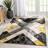 Well Woven Rheta Gold Modern Geometric Stripes & Angles Pattern Area Rug 8x10 (7'10' x 10'6')