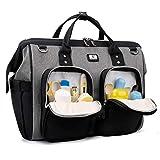 Pomelo Best Bolso Cambiador Bebé de Pañales | bolso carro gemelar | Impermeable |Gran Capacidad | Diseño universal,con 2 Ganchos Carrito de Bebé y Cambiador portatil de pañales (Negro y Gris 1)