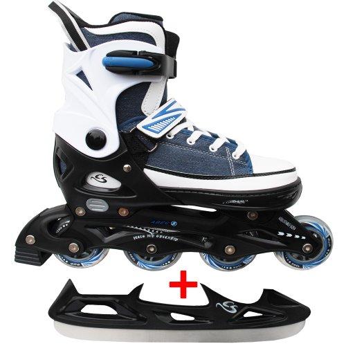 Cox Swain Sneak Kinder Inline Skates & Kinder Schlittschuh 2 in 1 - größenverstellbar ABEC5, Blau, XS (29-32)