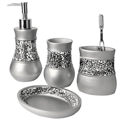 Creative Scents Gray Bathroom Accessories Set - 4 Piece Bathroom Decor Set for Home, Bath Restroom Set Features...