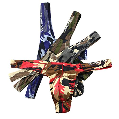 MuscleMate UltraFit Men's Camouflage Thong Underwear, Hot Men's Thong G-String Undie, (L, 4 Colors in A Package)