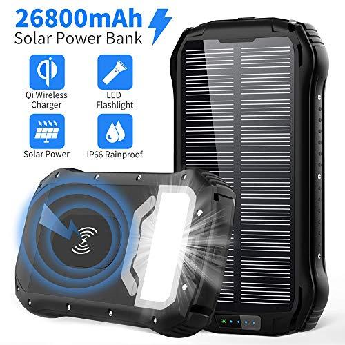 Power Bank Solare 26800mAh Caricabatterie Solare Portatile Wireless Qi con 3 Porte di Uscita USB,...