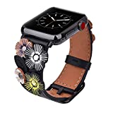 V-MORO Flowers Leather Bands Compatible with Apple Watch Bands 38mm 40mm Series 4/3/2/1 with Stainless Steel Buckle Black Replacement Strap Wristbands Women Men (Black, 38mm)