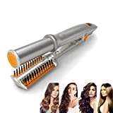 AN-FLY Hot Brush Styler Rotating Iron for Hair Curling & Straighting Irons High Heat Ceramic Press Comb with Dual Voltage and Auto Shut-off Comb & Storage bag Included (Silver)