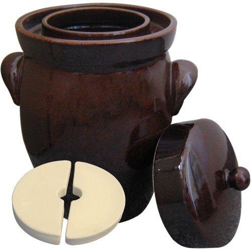 K&K Keramik Vaso da Cottura Originale K&K, da 5,0Litri, Forma II, comprende Pietra per appesantire e Coperchio.
