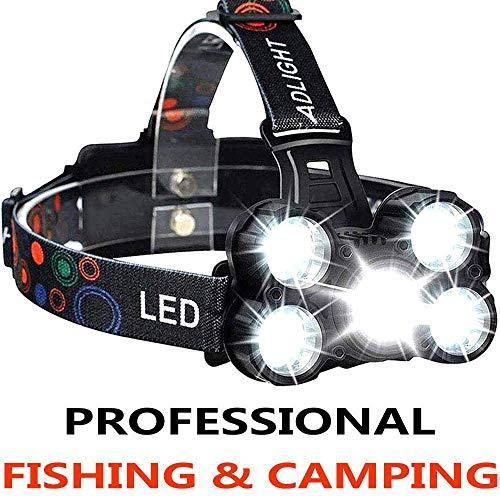 COOLEAD Torcia Frontale Zoomable 4 Modalit 5 LED,Lampada Frontale led Ricaricabile USB 2600mAh,Regolabile Impermeabile per Escursioni, Campeggio,Ciclismo,Corsa, Speleologia, Pesca.