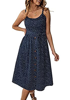 Material :90%Polyester + 10%Cotton. Soft touch Features: Polka dot printed, Geometric pattern,Sunflower printed, Button down, Sleeveless, Open back, Elastic design on back, Sexy adjustable spaghetti strap, Ruffle hem, High elastic waist, Self tie bel...