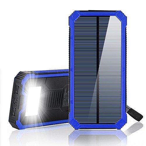 ソーラーパワーバンクチャージャー20000mAh iPhone、iPad、Androidなどのための防水ソーラーパネルと懐中電灯付きデュアルUSB (20000mAh, Black/Blue)