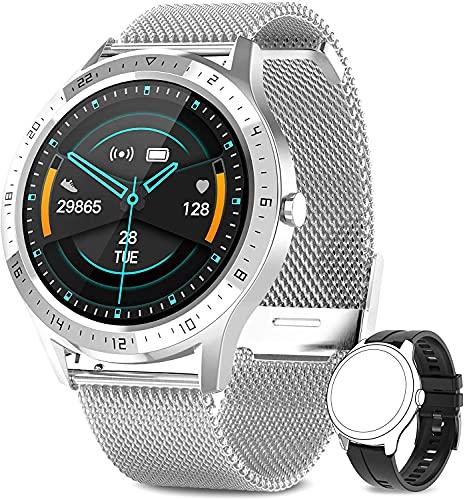 AIMIUVEI Smartwatch, Orologio Fitness Donna Uomo Cardiofrequnzimetro da Polso Contapassi e Calorie Impermeabile IP67 Cronometro Smart Watch, Activity Tracker per Android iOS Argento